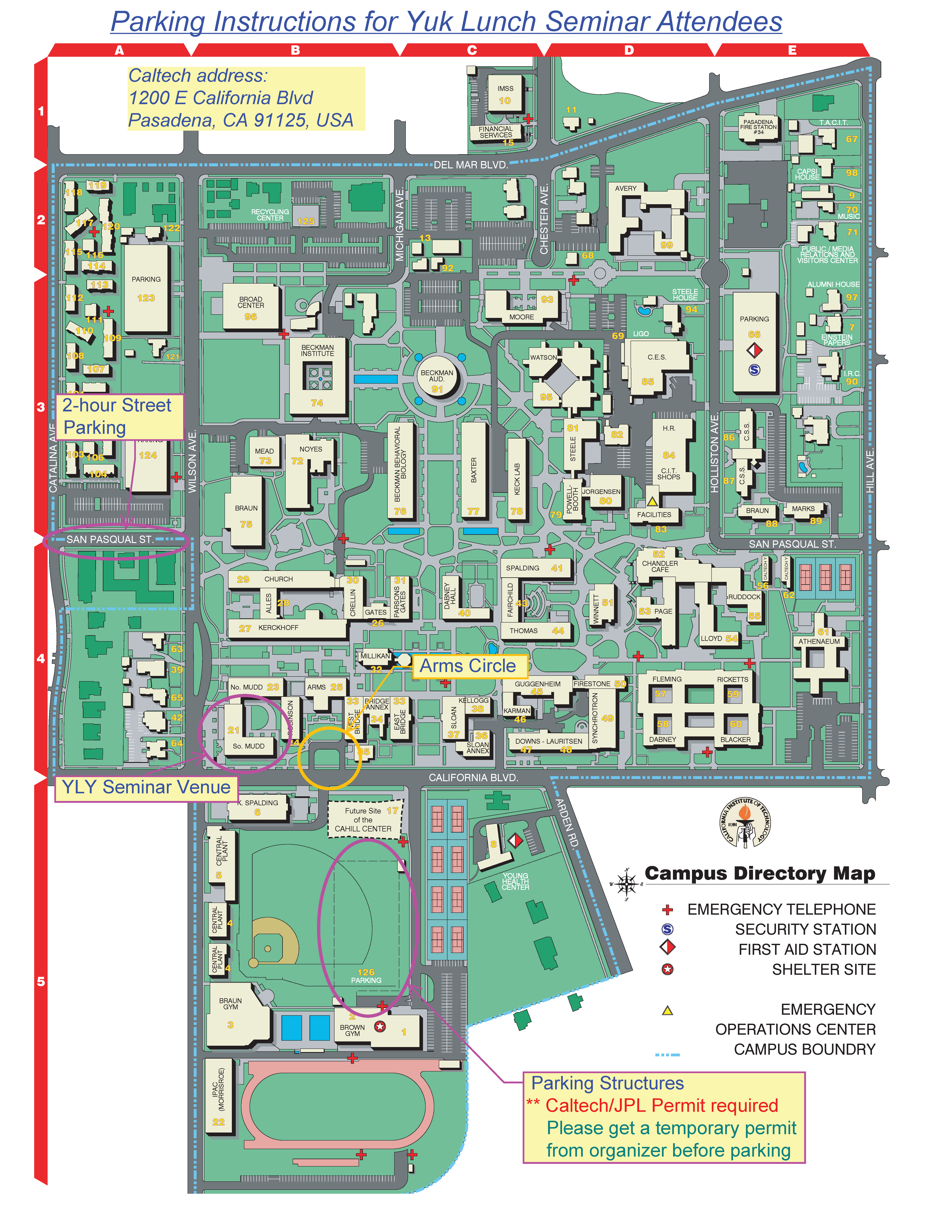 Lander University Campus Map.Caltech Yly Lunch Seminar
